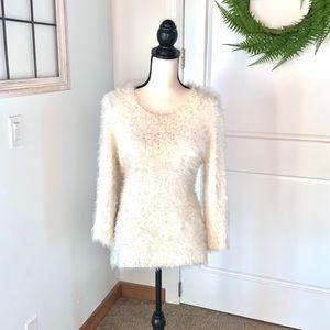 Reba Cream and Gold Super Soft Sweater L